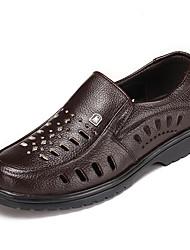 Men's Sandals Summer Leather Outdoor Flat Heel Others Black Brown