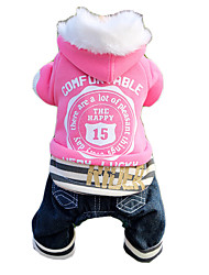 katten / honden Jassen / Sweatshirt / Jeans / Jumpsuits Blauw / Roze Hondenkleding Winter / Lente/Herfst Letter & NummerHoud Warm /