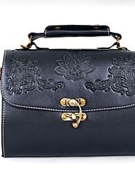 Women PU Casual Vintage Carved Artwork Baguette Box Crossbody Twist Lock Tote Bag