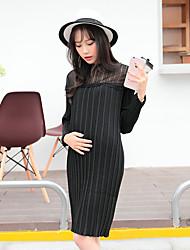 Maternidad Corte Ancho Vestido Casual/Diario Simple,Un Color Escote Redondo Sobre la rodilla Manga Larga Blanco / Negro / Gris Poliéster