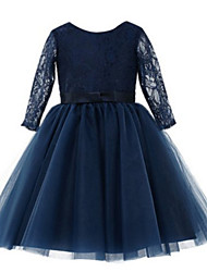 Ball Gown Tea-length Flower Girl Dress - Lace / Tulle Long Sleeve Jewel with Bow(s) / Lace / Sash