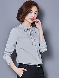 Women's New Fashion Stand Collar Chiffon Long Sleeve Blouses Shirt
