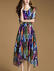 Women's Going out Simple Swing Dress,Rainbow V Neck Asymmetrical ½ Length Sleeve Multi-color Rayon Summer