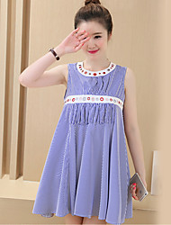Maternity Casual/Daily Cute Loose Dress,Striped Round Neck Above Knee Sleeveless Blue Cotton Summer
