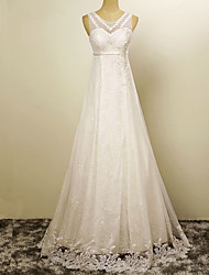 A-line Wedding Dress Floor-length Jewel Satin with Appliques / Pearl