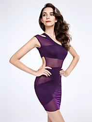 Robe Aux femmes Moulante Sexy , Couleur Pleine Une Epaule Au dessus du genou Polyester / Nylon / Spandex / Autres