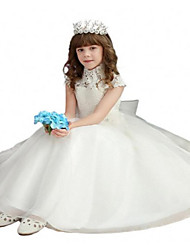 Ball Gown Floor-length Flower Girl Dress - Lace / Tulle Short Sleeve High Neck with Bow(s) / Lace / Sash / Ribbon