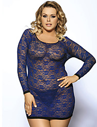 Women Bare Back Cross Blue Long-sleeved Round Neck  Lace Perspective Lingerie Dress
