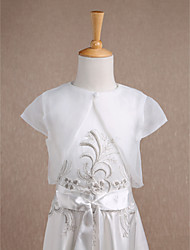 Kids' Wraps Shrugs Short Sleeve Organza Ivory Wedding Party/Evening Casual Scoop 34cm Button Clasp