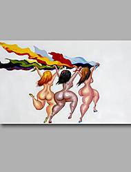 "Stretched (Ready to hang) Hand-Painted Oil Painting 36""x24"" Canvas Wall Art Modern Abstract Pop Art Nude Girls"