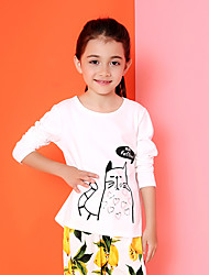 Girl's Casual/Daily Print Tee,Cotton Spring / Fall White