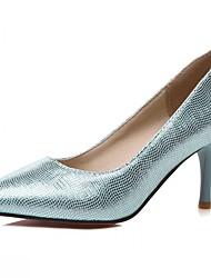 Damen-High Heels-Hochzeit Büro Kleid Lässig Party & Festivität-Kunststoff Lackleder Kunstleder-Stöckelabsatz-Komfort Neuheit Pumps-Silber