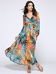 Women's Retro V Neck Printed Chiffon Long Sleeve Maxi Dress
