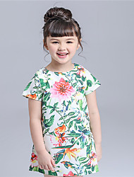 KIMOCAT Girl's Casual/Daily Print Dress,Cotton Summer Green