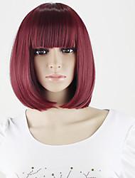 perruques synthétiques korean pas cher avec magasin bangs femmes court bob perruque Vente en gros vin rouge perruque synthétique courte