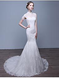 Trumpet / Mermaid Wedding Dress Court Train High Neck Lace with Pearl