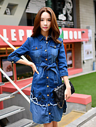 DABUWAWA Women's Going out /Holiday Vintage / Street chic / Sophisticated A Line / Sheath Dress,Solid / Patchwork Shirt
