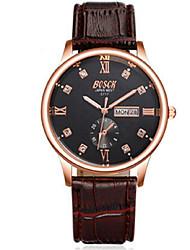 Hombre Reloj de Moda Cuarzo Calendario / Resistente al Agua / Noctilucente Piel Banda Casual Marrón / Color Beige Marca