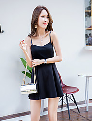 Women's Party/Cocktail Simple Skater Dress,Solid Strap Above Knee Sleeveless Black Rayon Summer