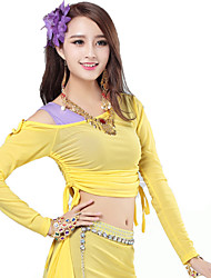 Belly Dance Tops Women's Training Tulle Pleated 1 Piece Royal Belly Dance Long Sleeve Natural Top