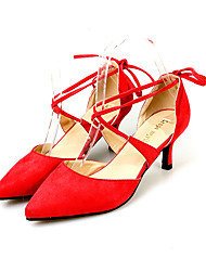Women's Shoes, Pointed Toe Fleece Ankle Strap Lace-up Heels, Wedding Shoes /Pumps Red/Black/Almond Colors