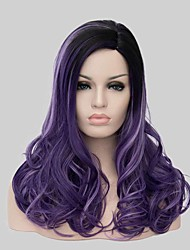 Black Curly Hair Wig Set of Gradient Purple Fashion Wig
