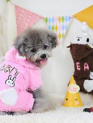 Dog Hoodie Brown / Pink Winter Cartoon Keep Warm, Dog Clothes / Dog Clothing