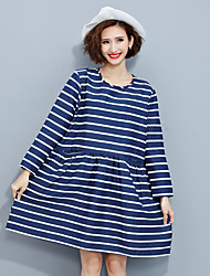 Women's Casual/Daily Simple Loose Dress,Striped Round Neck Above Knee Long Sleeve Blue Cotton Fall