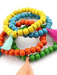 Femme Bracelets de rive Bois Mode Bohême Forme de Cercle Orange Jaune Vert Bleu Bijoux 1pc