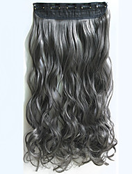 1PC 24inch 120g Long Wavy Curly Clip In Hair Extensions Dark Gary Synthetic Hair Extension Stock