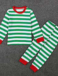 Girl's Casual/Daily Striped Clothing SetCotton / Polyester All Seasons Green / Red