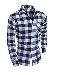 Men's Plaids Casual / Formal Shirt,Cotton Long Sleeve Multi-color
