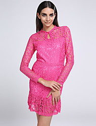 Winter  Women's Lace Multi-color Dresses , Sexy / Party Round Long Sleeve