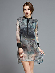 Boutique S Women's Going out Vintage / Cute Sheath Dress,Print Crew Neck Above Knee Long Sleeve Black Silk Spring
