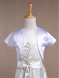 Kids' Wraps Shrugs Short Sleeve Satin White Wedding Party/Evening Casual Scoop 34cm Draped Open Front