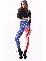 Women's Print Blue Skinny Pants,Simple