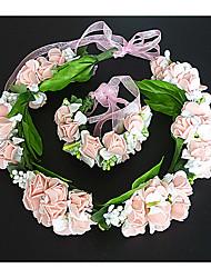 Женский Ткань Заставка-Свадьба Венки 2 предмета Розовый / Белый Цветок 54cm