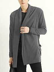 Men's Casual/Daily Simple Regular Cardigan,Solid / Color Block Blue / Black / Gray Round Neck Long Sleeve Cotton / Polyester Fall / Winter