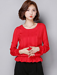 Women's Casual/Daily Cute Summer Blouse,Solid Round Neck Long Sleeve Red / White / Black / Brown Polyester Thin