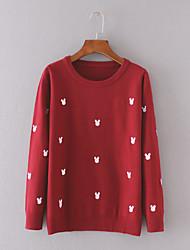 Damen Kurz Pullover-Lässig/Alltäglich Einfach Tierfell-Druck Blau / Rot / Schwarz / Grau Rundhalsausschnitt Langarm Baumwolle Herbst Dünn