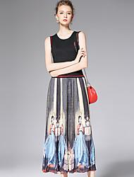 AFOLD® Women's Round Neck Sleeveless Tea-length Dress-6010