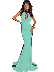 Women's Peekaboo Halterneck Lace Trim Party Gown