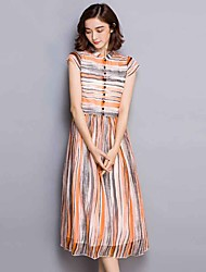 Women's Casual/Daily Simple Sheath Dress,Striped Stand Midi Short Sleeve Orange Rayon Summer