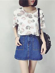 Damen Druck Einfach Lässig/Alltäglich T-shirt,Rundhalsausschnitt Sommer ½ Länge Ärmel Blau / Rosa Kunstseide Mittel