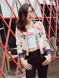 Women's Casual/Daily Simple Spring JacketsEmbroidered Stand Long Sleeve Pink Cotton Medium