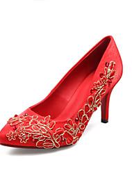 Women's Heels Spring Summer Fall Winter Silk Dress Stiletto Heel Ribbon Tie Red Others