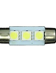 10X White 36mm 3 5050 SMD Festoon Dome Map Interior LED Light Lamp DE3175 3022 12V
