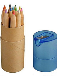 Kraft Paper Tube with 12 Color with Color Pencil Sharpener