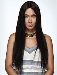 EVAWIGS 10-26 Inch Long Straight Wigs 100% Human Hair Lace Front Wigs Natural Black Color 130% Density