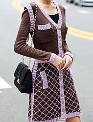 MULTIPLE LIFE Women's Vintage Sweater Dress,Solid / Striped V Neck Above Knee Long Sleeve